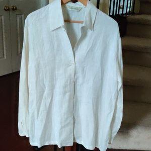 Eddie Bauer 100% Linen Cream Button Down Shirt